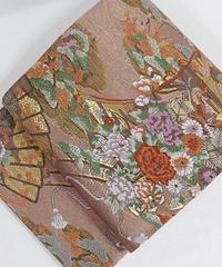 【リサイクル】未使用【錦 袋帯】几張に檜扇 花車文/梅ねず 金/大変豪華な帯です【美品】お薦めです