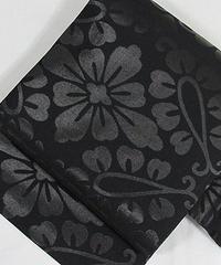 【袷・単衣用】黒共九寸名古屋帯 漆仕様 花菱/黒【美品】