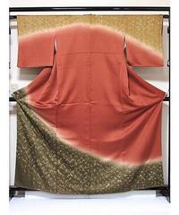 【訪問着】袷着物 綸子/枝垂れ桜(刺繍)/162cm前後ベスト★レディッシュブラウン【美品】お薦めです