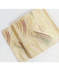 【錦 袋帯】ベージュに金(ゴールド)/波/ほぼ未使用 【美品】お薦めです