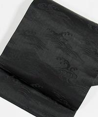 【袷・単衣用】黒共九寸名古屋帯 緞子/片男波/黒【美品】