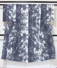 【浴衣】竹笹/藍 白☆143cmベスト/リサイクル/中古【美品】