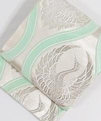 【錦 袋帯】よろけに鶴丸/シルバーに若緑【美品】