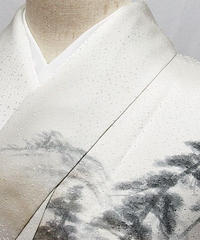 【附下げ】袷着物 綸子/洛景絵図 落款入り/156cm前後ベスト★オフホワイト【美品】