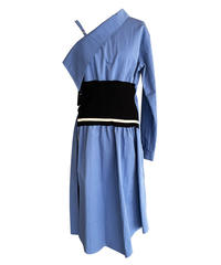 One shoulder shirt dress (blue)