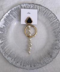 handmade  gold parl earring  -615-