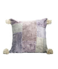 7.Cushion Cover M/ Patch work・Purple gray×Gray  (45×45)