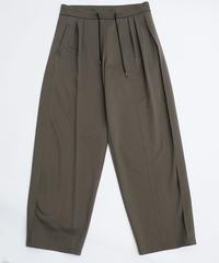 Flat double Pants / カーキ 【2020ss】