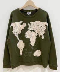 <SAMPLE SALE> 世界地図の刺繍スウェット(dark olive)