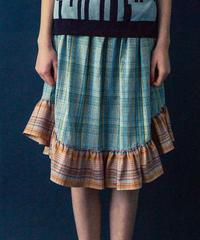 ツートンマドラスチェックギャザースカート(light blue)