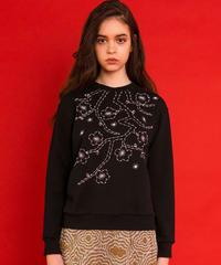 梅の刺繍スウェット (black)