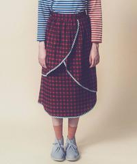 タータンチェックレイヤードスカート(red)