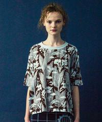カンナの花のプリントTシャツ (brown)