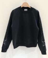 流れ星ライン刺繍のスウェット (black)