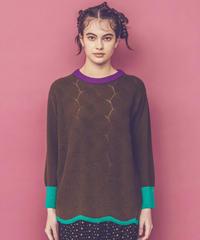 カラーブロックセーター (dark olive)