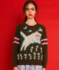 飛ぶネコのセーター  (dark olive)
