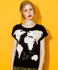 世界地図の刺繍フレンチスリーブTシャツ