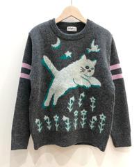 飛ぶネコのセーター  (dark grey)