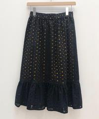 エンブロイダリーレースレイヤードギャザースカート (black)