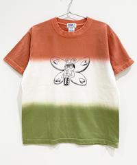 バタフライガールの段染めTシャツ (coral)