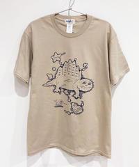 ディメトロドン大陸のTシャツ (beige)