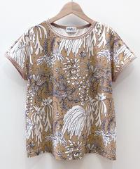 植物プリントのフレンチスリーブTシャツ (beige)