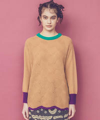 カラーブロックセーター (beige)