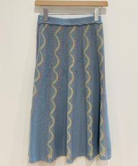 <SAMPLE SALE> 流れ星のニットフレアスカート(light blue)
