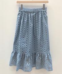 エンブロイダリーレースレイヤードギャザースカート (light blue)
