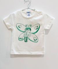 バタフライガールのキッズTシャツ (white)