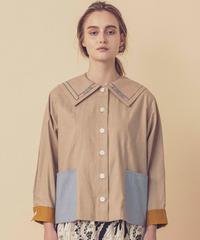 本の刺繍セーラーカラーシャツジャケット (beige)