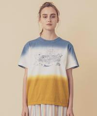 ティータイムの段染めTシャツ (blue)