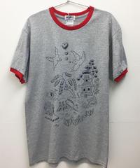 ウィローパターンリンガーTシャツ (grey- red)