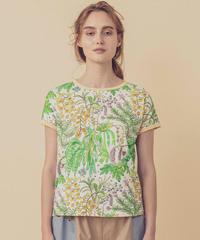 植物プリントのフレンチスリーブTシャツ (light green)
