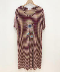 <SAMPLE SALE>  ヒマワリ刺繍のカットソーワンピース  (beige x burgundy)