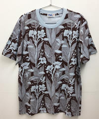 カンナの花のプリントメンズTシャツ (brown)