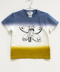 バタフライガールの段染めキッズTシャツ (blue)