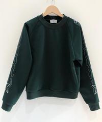 流れ星ライン刺繍のスウェット (dark green)