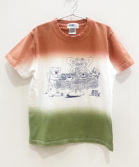 ティータイムの段染めキッズTシャツ (coral)