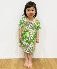 植物プリントキッズワンピース (light green)