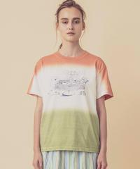 ティータイムの段染めTシャツ (coral)