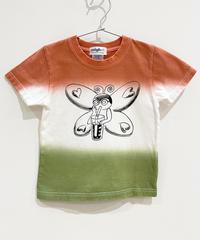 バタフライガールの段染めキッズTシャツ (coral)