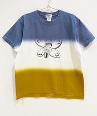 バタフライガールの段染めTシャツ (blue)