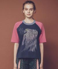 虹色マンモス刺繍のラグランTシャツ (blue)