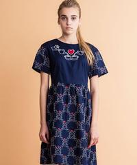 アフターヌーンティー刺繍の半袖ワンピース