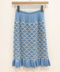 <SAMPLE SALE>  水面パターンのニットスカート (light blue)