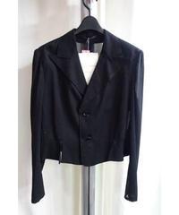 新品 yohji yamamoto +noir 黒 デザイン変形ショートジャケット