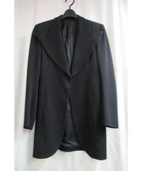 97aw yohji yamamoto femme vintage 黒 デザインピーク襟ロングジャケット FI-J07-103