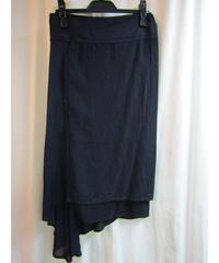 赤タグ Y's yohji yamamoto femme 紺 切替デザイン巻きスカート