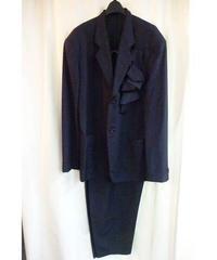オールド80'vintage yohji yamamoto pour homme 紺 コサージュストライプスーツ
